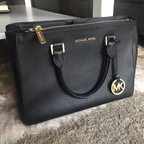 c650af289e4535 Michael Kors Bags   Black Kellen Saffiano Leather Satchel   Poshmark